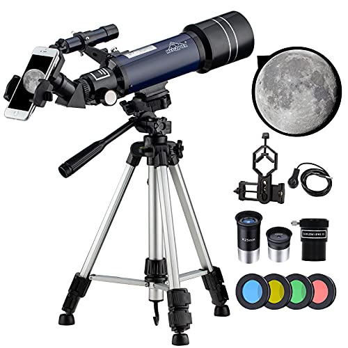 𝟭𝟵𝟴𝗫 Astronomical Telescope, Focal=400 Aperture=70 16X-48X-66X-198X Refracting Telescopes with Tripod for Kids Adult Beginners