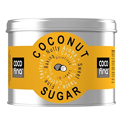 Cocofina Organic Coconut Sugar Low GI Unrefined Coconut Blossom Sugar Gluten Free Vegan for Coffee Tea Desserts & Baking packed in Tin with window – 500g (PACK of 1)