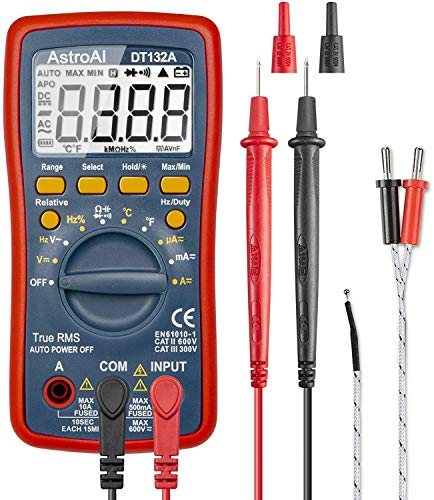 AstroAI Digital Multimeter, TRMS 4000 Counts Volt Meter Manual and Auto Ranging; Measures Voltage Tester, Temperature, Current, Resistance, Continuity, Frequency; Tests Diodes