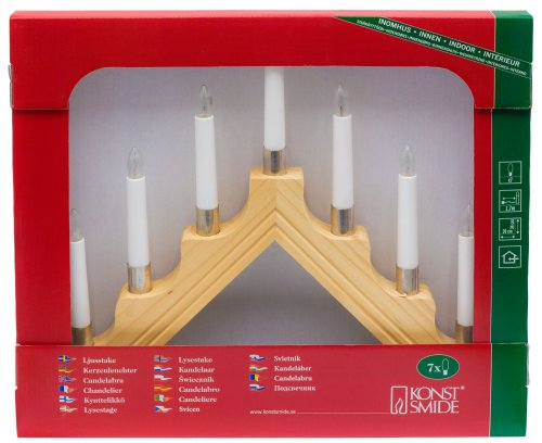 Konstsmide Christmas Lights/Modern Style Welcome Light, with Metal Trim/Natural Wood/Indoor Use (IP20)/230V Indoor/7 Candles with Clear Bulbs/White Cable with On Off Switch