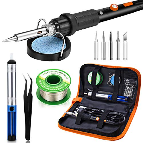 Preciva 11 in 1 Soldering Iron Set, 60W Soldering Iron Temperature Adjustable 220~480°C, 5 Soldering Tips, Solder Bar, Soldering Iron kit with ON/Off Switch for Electrical Maintenance (Black)