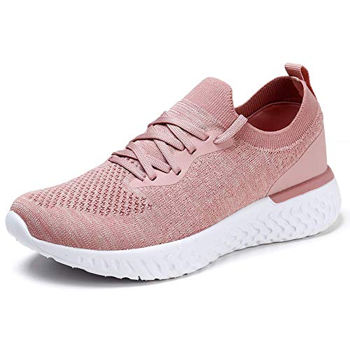 Womens Athletic Running Shoes Comfortable Tennis Shoes Lightweight Walking Shoes Lace Up Trainers Breathable Wide Fit Gym Sneakers Pink UK 6