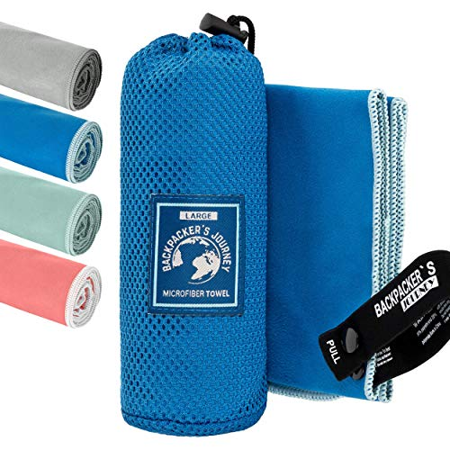 Backpacker's Journey Microfibre hand towels in S, M, L, XL, travel towel sets, lightweight, quick-drying, absorbent and antibacterial (blue S)