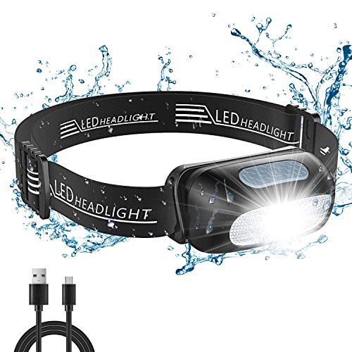 Cocoda Head Torch, Rechargeable LED Head Torches, 5 Lighting Modes, 200 Lumen, IPX4 Waterproof, Lightweight Headlamp with Red Light for Running, Camping, Hiking, Adjustable Headlight for Kids & Adults