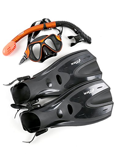 Two Bare Feet X-Dive Silicone Mask Dry Top Snorkel & F70 Fins Complete Diving Snorkel Set (M266S SN134S Orange/Black, F70 L/XL)