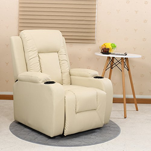 More4Homes OSCAR BONDED LEATHER RECLINER w DRINK HOLDERS ARMCHAIR SOFA CHAIR RECLINING CINEMA (Cream)