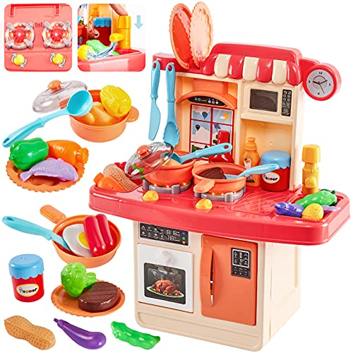HERSITY Kids Role Play Toy Mini Size Kitchen Set with Light and Sound Pretend Food Cooking Toys Set Cookware Playset Gifts for Children Age 3 4 5 6