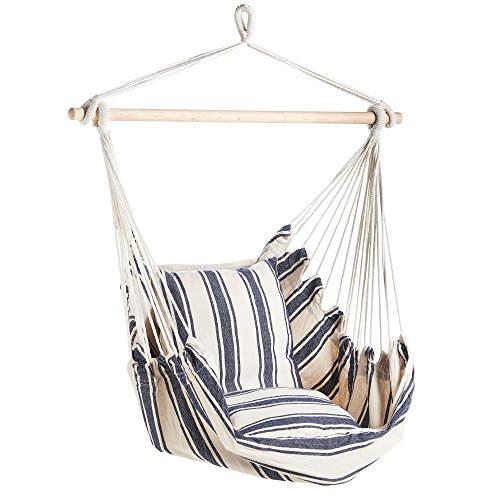 VonHaus Striped Hanging Chair – Swing Chair for Outdoor, Indoor, Patio, Garden, Home, Decking – Swinging Hammock Chair with Cushioned Seat