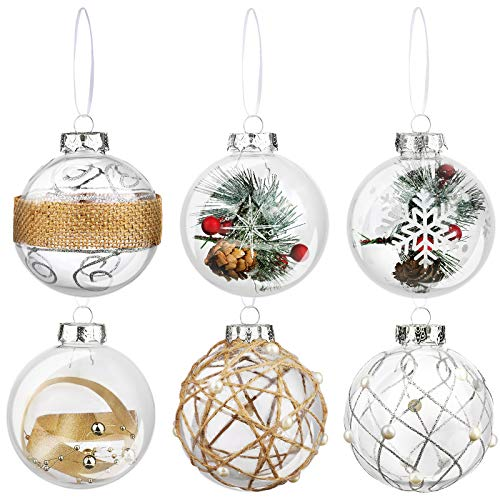 ELCOHO 6 Pieces Hanging Christmas Ball Ornament Shatterproof Christmas Plastic Craft Balls Jute String Ball Ornament Assorted Styles for Holiday Wedding Party Decoration
