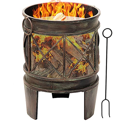 Amagabeli 58cm Outdoor Fire Pit for Garden Fire Brazier Deep Large Capacity Fire Bowl with Spark Screen and Poker Extra Large Wood Burning Fire Basket Portable