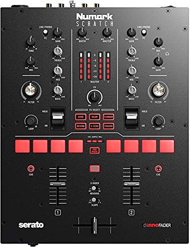 Numark Scratch - Two-Channel DJ Scratch Mixer for Serato DJ Pro (included) With Innofader Crossfader, DVS license, 6 Direct Access Effect Selectors, Performance Pads and 24-Bit Sound Quality