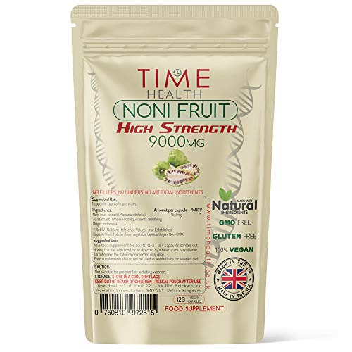 Noni Fruit Extract 9000mg   120 Capsules   Super High Strength   No Fillers, Binders or Additives   100% Vegan   UK Manufactured   Pullulan