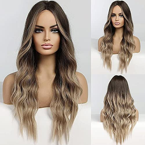 HAIRCUBE Long Hair Wigs for Women Ombre Color Brown to Blonde Synthetic Curly Hair Wig Middle Parting