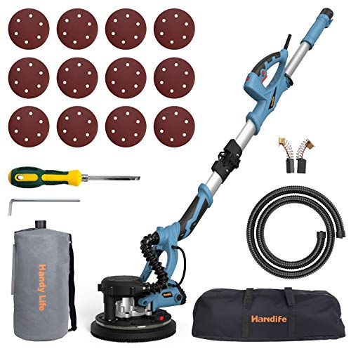 Drywall Sander Handife 7A 800W Electric Foldable Wall Sander, Double-Deck LED Lights Sander, 800-1800RPM Electric Drywall Sander w/Dust-Free Automatic Vacuum System and 12 pcs Sanding Discs (Folded)