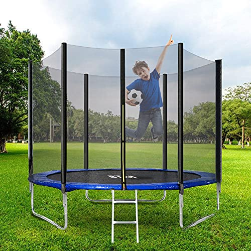 BTM Outdoor Trampoline, Kids Trampoline, Garden Trampoline with Safety Enclosure Netting and Ladder Edge Cover Jumping Mat (10FT)