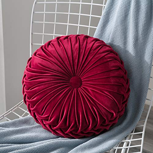 Mrinb Velvet Pleated Round Pumpkin Throw Pillow Couch Cushion Floor Pillow Decorative for Home Sofa Chair Bed Car