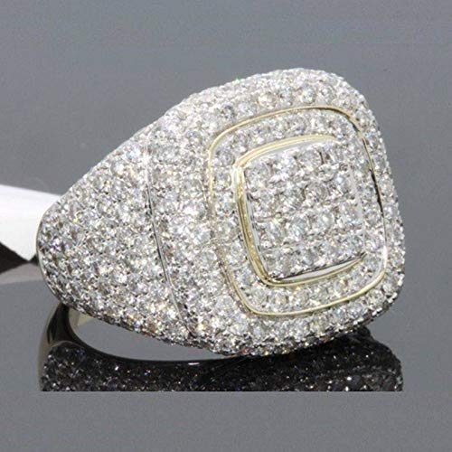 CHENG'S 18K Gold CLUSTER ICED OUT Lab Simulated Diamond Band MICROPAVE Mens Pinky Ring (8)