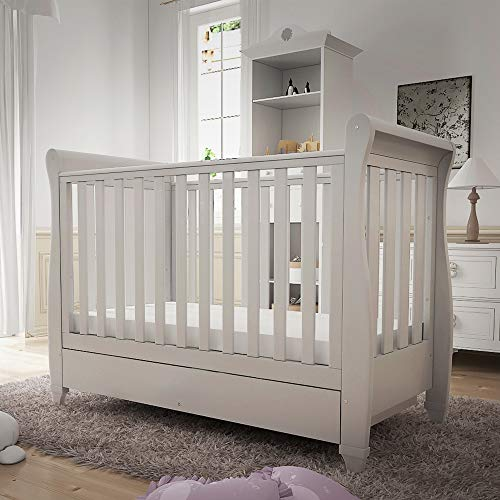 Babymore Eva Sleigh Cot Bed Drop Side with Drawer & Include Mattress | Solid Pine Wood | Converts into Day Bed, Toddler Bed | Teething Rail (White)