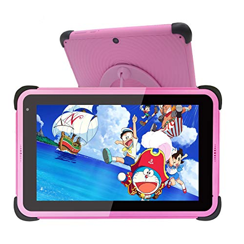Kids Tablet 7 inch Android 10 Tablets for Kids, 32GB ROM IPS HD Display Toddler Tablet with WiFi Dual Camera Childrens Tablet, Parental Control Learning Tablet with Kid-Proof Case and Stand (Pink)