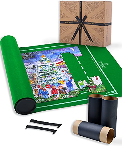 Jaques of London Puzzle Roll 1500pc   Quality Puzzle Mat With Foldable Cloth & Storage Tube   Premium Jigsaw Roll Mat   Jigsaw Accessories   Since 1795