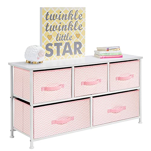 mDesign Bedroom Organiser Made of Fabric - Wardrobe Organiser with 5 Drawers - Storage System for The Bedroom, Children's Room, Office or in The Wardrobe - Pink/White