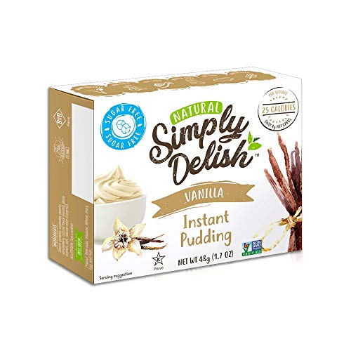 Simply Delish, Natural Pudding, and Pie Filling - Fat and Gluten Free, Vegan Sweet, Vanilla Flavour - Pack of 6, Sugar Free Pudding