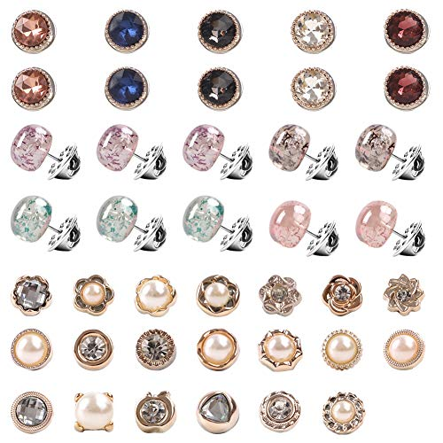 Cover up Button Pins, 40 Pack Women Shirt Brooch Buttons Safety Brooch Buttons Brooch Pins Invisible Buttons Prevent Accidental Exposure of Buttons Exposure Buttons for Clothes Cardigan