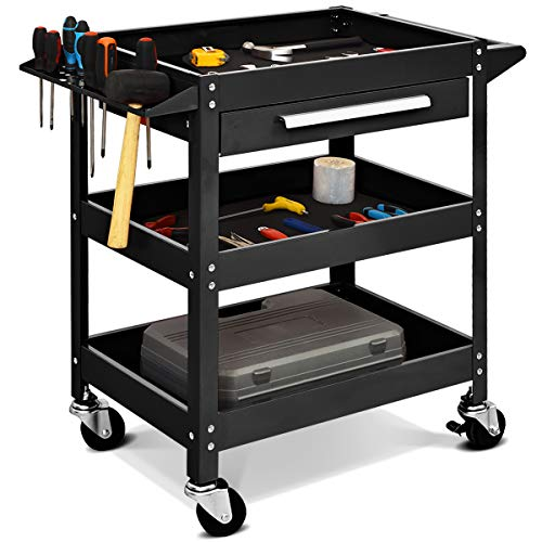 GYMAX 3 Tier Tool Storage Cart, Storage Service Cart with Lockable Wheels and Ergonomic Handle, Storage Trolley for Home Workshop Garage, Load Capacity 150KG (Black, 80 x 41 x 80cm)
