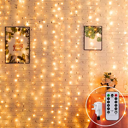 2M x 2M Curtain Light Mains Powered Christmas Fairy Light Plug in Window Curtain Light Backdrop Fairy Lights Linkable,204 LED,Remote for Outdoor Indoor Gazebo Decor(Warm White)