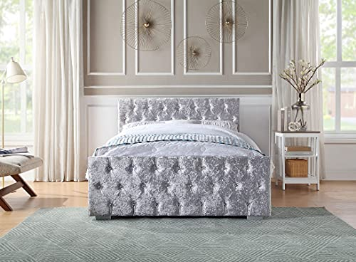 Home Treats Crushed Velvet Material Bed Frame | Double Bed Embossed With Diamante Jewels Plush Upholstered Finish | Strong and Durable with Sprung Wooden Slats | Double Bed 4ft6 Size (Double)