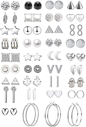 42/ 36Pairs Assorted Multiple Stud Earrings Jewelry set With Card for Women Girls Simple Hoop earring set (Style 2)