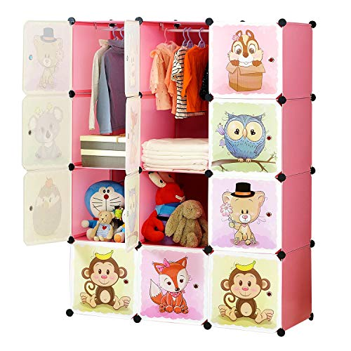 BRIAN & DANY Portable Cartoon Clothes Closet Wardrobe DIY Modular Storage Organizer, Sturdy and Safe for Children, 8 Cubes & 2 Hanging Sections, Pink, 110 x 47 x 147 cm