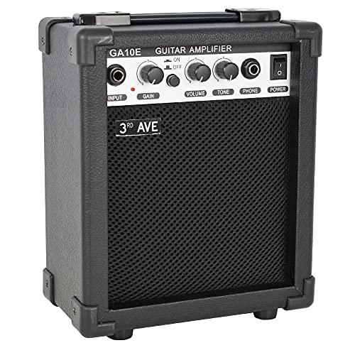 3rd Avenue GA10E Rocket Series 10W Guitar Amplifier with Headphone Output and Effects Compact Practice Amp - Black