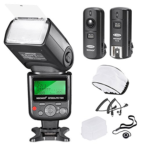 Neewer 750II TTL Flash Speedlite with LCD Display Kit for Nikon DSLR Cameras,Includes:(1)750II TTL Flash,(1)2.4G Wireless Trigger with N1/N3 Cable,(1)Soft/Hard Diffuser,(1)Lens Cap Holder