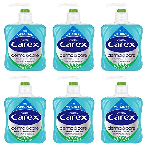 Carex Dermacare Original Antibacterial Hand Wash , Cleansing Hand Wash that Protects Hands, Antibacterial Soap with Added Moisturisers, Gentle Hand Soap, Pack of 6 x 250 ml (Packaging may vary)