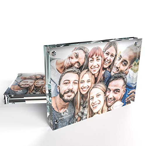 Kluger Punkt Free-standing Transparent Photo Frame [2-pack, 5x7 inch]. Frameless Double-sided Picture Frame featuring two 10mm thick acrylic glass blocks fixed by magnets.