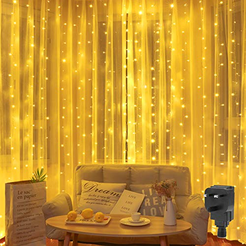 Curtain Light Plug in 2M x 2M Backdrop Window Curtain Lights Mains Powered Christmas Fairy Light Waterfall Light,204 LED,8Mode Connectable for Gazebo Outdoor Room(Warm White)