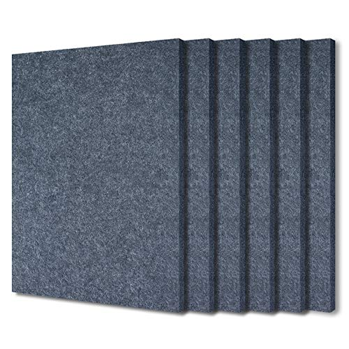 BXI Sound Absorber - 400 X 300 X 9mm 6 Pack High Density Acoustic Absorption Panel, Sound Absorbing Panels Reduce Echo Reverb, Tackable Acoustical Felt Tiles for Ceiling and Wall Decoration (Gray)