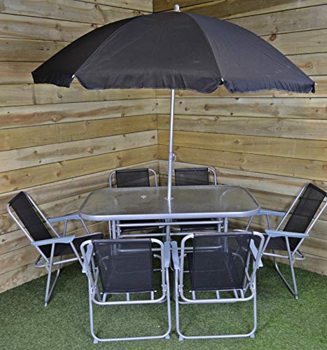 Samuel ALEXANDER 6 Person Garden Furniture Sets With Parasol Patio Dining Table And Chairs Set, Includes 6 Chairs, Table and Parasol