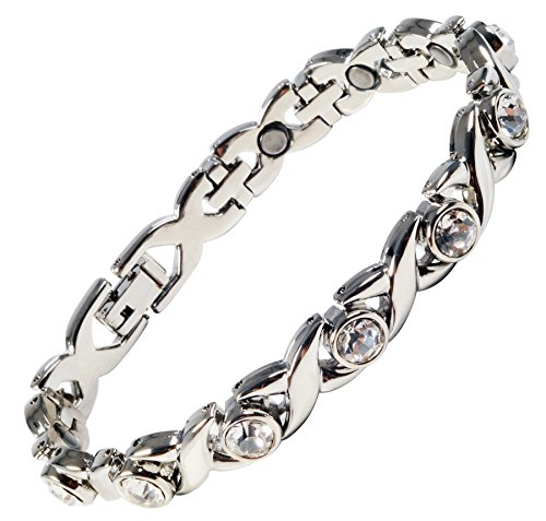 Ladies Magnetic Bracelet Silver Finish Natural Pain Relief Therapy by MnB Magnetic Bracelets