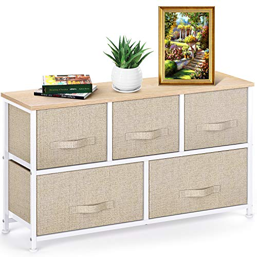 Pipishell Chest of Drawers, Fabric Storage Drawers easy to Install, Dresser with Wood Top and Large Storage Space, Vertical Chest of 5 Drawers Bedroom, Living Room, Nursery Room, Hallway, etc