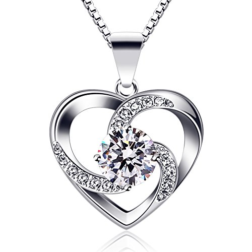 B.Catcher Women Necklace 925 Sterling Silver Crazy Love Pendant Necklaces with 18inch Box Chain