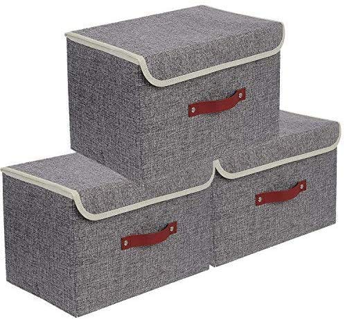 E-MANIS Storage Bins 3 Pack Foldable Storage Boxes with Lids Storage Baskets Storage Containers Organizers with for Toys,Clothes and Books etc 38 x 25 x 25 cm (Grey)