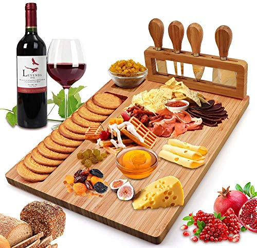 Bamboo Cheese Board Set with Cutlery Wooden Charcuterie Tray Platter Including 4 Stainless Steel Knife and Serving Utensils, Gift Idea for Birthdays, Wedding Registry, Housewarming