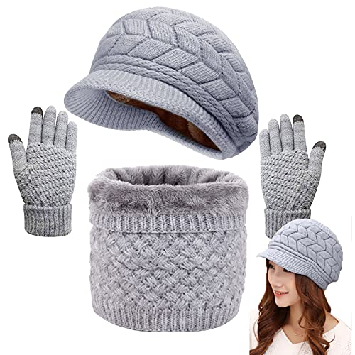 CheChury Winter Hat Scarf and Gloves Set Knitted Warm Neck Warmer Touchscreen Gloves and Berets for Women Winter Outdoor Sports Set,Grey,One size