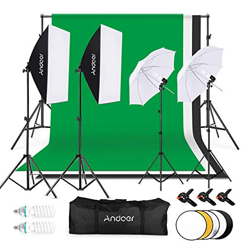 Andoer Photo Studio Lighting Kit, with 6x 9ft/ 1.8x 2.8m Background Support System, 135W 5500K Umbrella, Softbox, Softbox kit, 5 in 1 Reflector for Photo Studio, Photography, Video, Portrait shooting