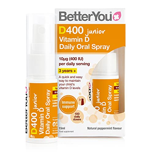 BetterYou D400 Junior Vitamin D Daily Oral Spray | 3 Years + | 400 IU | A Quick And Easy Way To Maintain Your Child's Vitamin D Levels | 100 Daily Doses | Natural Peppermint Flavour