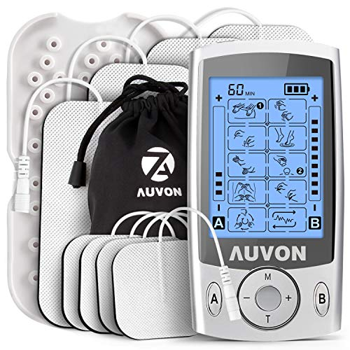 AUVON Dual Channel TENS Machine for Pain Relief, TENS Unit Muscle Stimulator with 20 Modes, 2