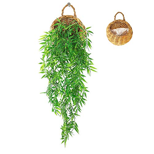 ANZOME Hanging Fake Plants Indoor Bamboo Vines, Trailing Artificial Plants Ivy with Hanging Basket, Decorative Artificial Hanging Plant Pot Indoor Outdoor, Plastic Faux Plants for Bathroom Living Room