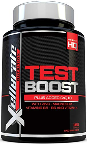Test Boost for Men - 180 Capsules Testosterone Support Supplement - Ingredients Contribute to Normal Testosterone Levels & Reduction in Fatigue - Zinc Level Booster, Magnesium & Maca Root